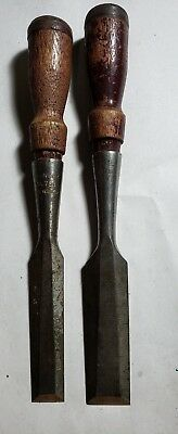 Lot of 2 Stanley No. 750 Chisels woodworking vintage used carving tools tooling