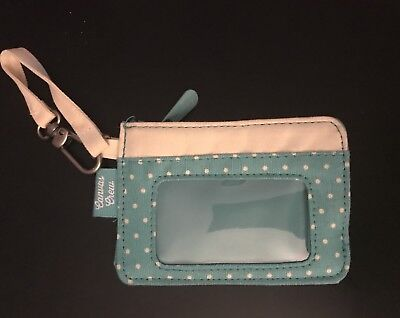 *NEW! Thirty One Canvas Crew Coin Purse Turquoise Swiss Dot Mini Wallet Clip On