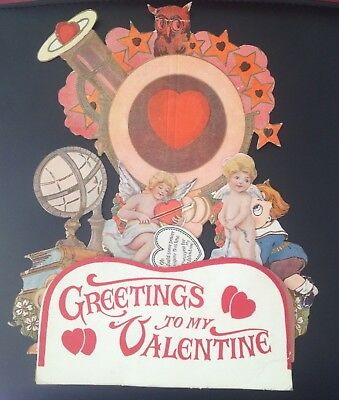 """1900's Large Card """"Greetings To My Valentine"""" Fold Out Honeycomb Card"""