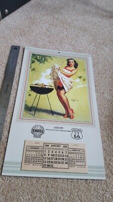 Vintage Shell Oil Gil Elvgren Pinup Calendar dated 1950 Excellent condition