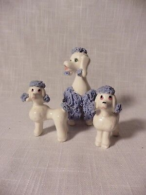 Vintage Ceramic Spaghetti Poodles White & Blue Dog With 2 Pups~ Repair