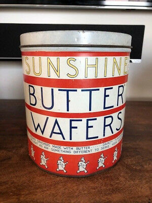 Vintage Sunshine Butter Wafers Tin Advertising Can Cookies Crackers