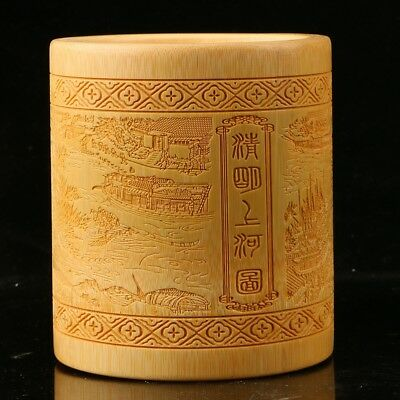 Collectible Chinese antique bamboo pen engraving Qingming Shanghe Map z9011