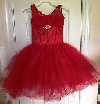 Whispering Red Size CLA Curtain Call Costumes Dance Dress Tool Jewel Leotard