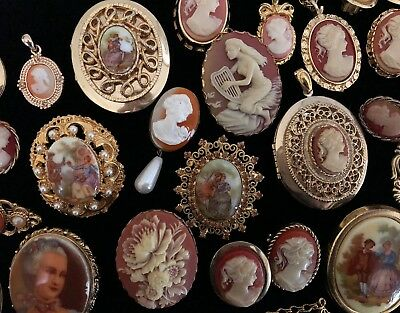 VINTAGE Costume Jewelry Large Lot CAMEO Pendant Earrings Lockets Pins