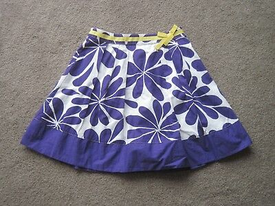 Very Nice Mini Boden Skirt Big Floral Print 9-10, Cotton, Purple, White/lined