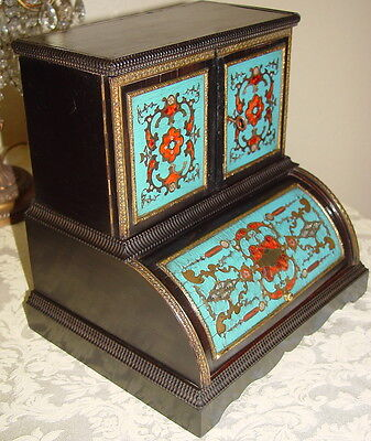 BOULLE ROLL TOP WRITERS CABINET for DESK COLORED INLAID SHELL &  BRASS