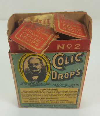 Antique Dr A.c. Daniels Colic Drops For Horses Colts Mules Cows Bottles With Box
