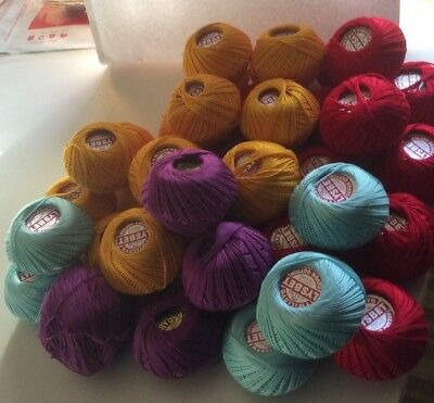 TWILLEYS LYSBET SUPER COTTON - 36 x 25GM BALLS MIXED COLOURS plus oddment