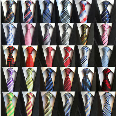 New Men's Stripe Necktie Jacquard Woven Tie Silk Wedding Party Work Gifts