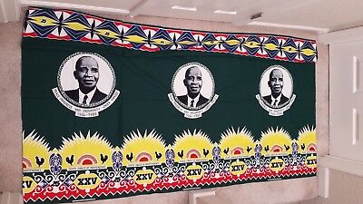 """MALAWI FABRIC 72x44"""" AFRICA BATIK CLOTH-AFRICAN INDEPENDENCE JUBILEE TEXTILE NEW"""