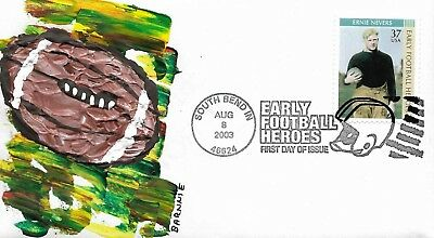 FDC Ernie Nevers Early Football Heroes 2003 Hand Painted Cachet by Barnnie