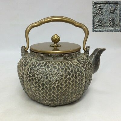 F110: Japanese iron kettle TETSUBIN with good flower relief on mesh pattern