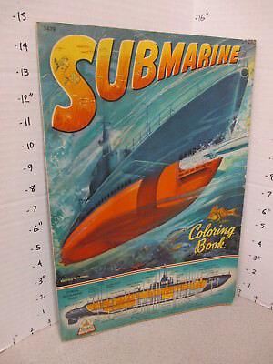 SUBMARINE 1944 WWII 48pg deep sea diver Navy ships comic coloring book unused