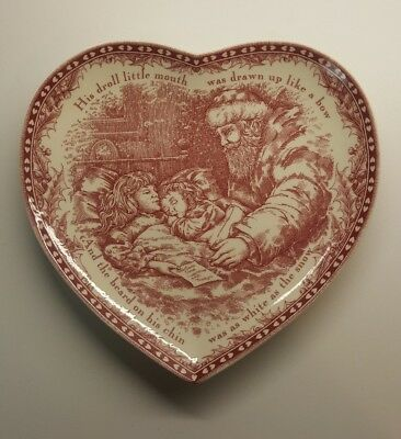 'TWAS THE NIGHT BEFORE CHRISTMAS Heart Plate Platter By Noble Excellence