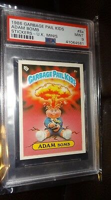 1986 UK Garbage Pail Kids Adam Bomb Sticker Minis #8a PSA MINT 9