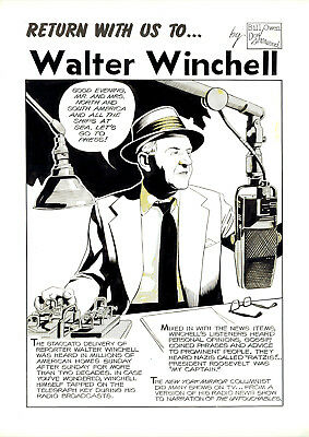 """DON SHERWOOD Original Art """"Return With Us To"""" WALTER WINCHELL - Untouchables TV"""