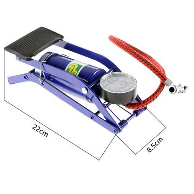 New Single Barrel Cylinder Air Inflator Gas Foot Pump Car Auto Bicycle Bike Tyre