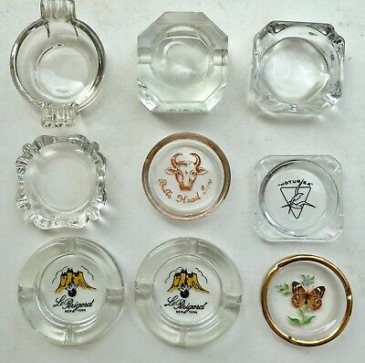 9 Vintage Advertising and Art  Glass Ashtray LOT