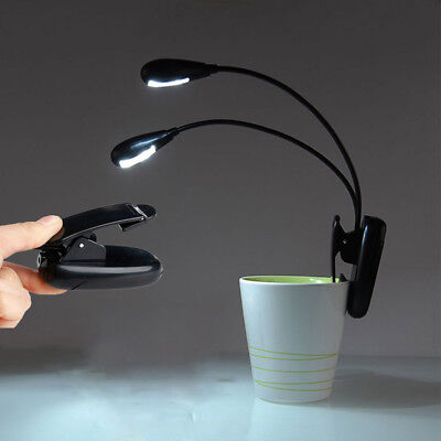 1Pc Flexible Dual Neck 4 LED Clip-on Light Protect Eyes Reading Lamp