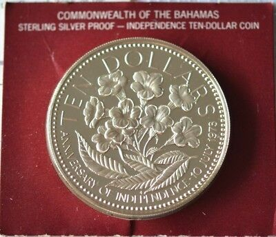 1975 $10 Bahamas 10 Dollars Silver 1.4oz Proof Coin 50mm In Box of Issue