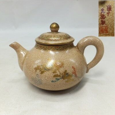 F113: Japanese OLD SATSUMA pottery teapot for green tea SENCHA with sign