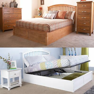 Madrid Wooden Ottoman Bed Gas Lift Up Storage 4Ft6 5Ft Curved Style Oak White