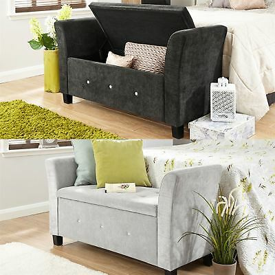 Verona Chenille Diamante Window Seat Ottoman Storage Box Blanket Bench Footstool