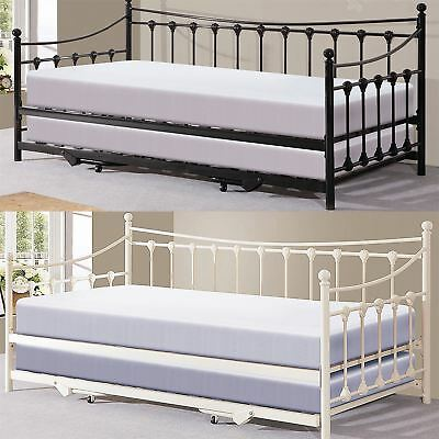 Memphis 3Ft Single French Style Design Bedstead W/ Pullout Trundle Guest Day Bed