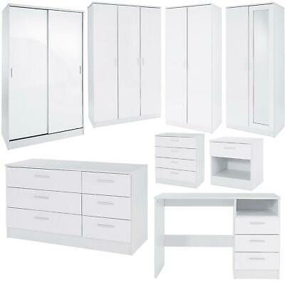 Bedroom Furniture 3 Piece Set White Gloss Bedside Drawer Chest Table Wardrobe