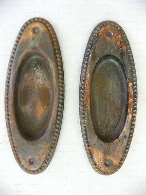 2 Vintage Oval Japanened Copper Flashed Pocket Door Recessed Plates, Finger