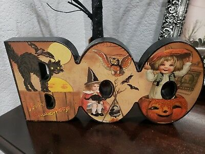 Halloween Primitives by Kathy Vintage Style BOO Black Cat Children Sign 11.5""