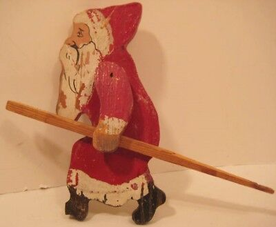 Old Wooden Hand Painted Christmas Santa w/ Jointed Arms for pulling Sled