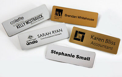 Name Badge Tag Personalised Engraving Metallic 76Mm X 25Mm With Magnetic Holder