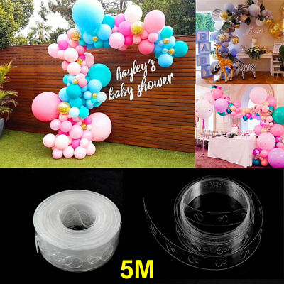 Unique 5M Balloon Arch Decor Strip Connect Chain DIY Tap Plastice Party Supplies