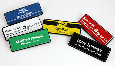 Name Badge Tag Colour Personalised Engraving  80Mm X 29Mm With Magnetic Holder