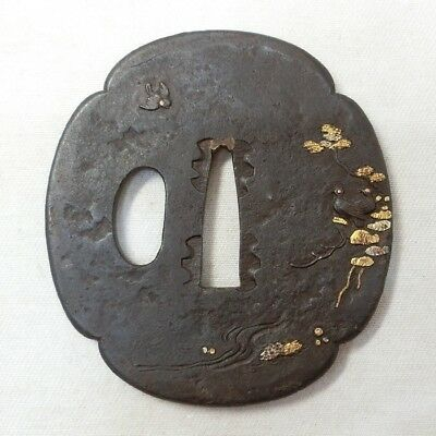 E776: Real old Japanese sword guard TSUBA of iron with very good design of work
