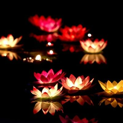 LED Floating Lotus Flower Lamps On Water Swimming Pool Garden Decoration Light