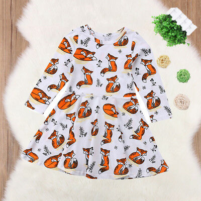 Infant Toddler Kids Baby Girls Fox Long Sleeve Tutu Dress Casual Dresses Clothes
