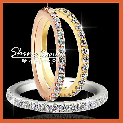 18K GOLD GF Stackable French Pave DIAMOND WEDDING ANNIVERSARY ETERNITY BAND RING