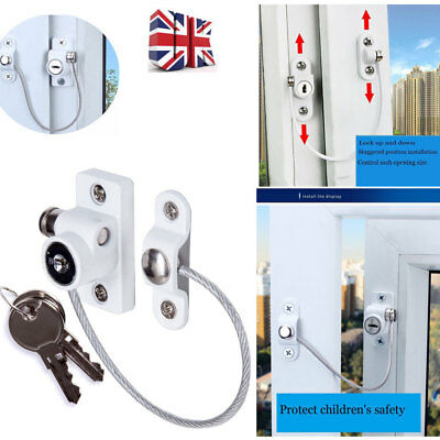 2 x White Window Door Restrictor Safety Locking UPVC Child Security Wire Cable