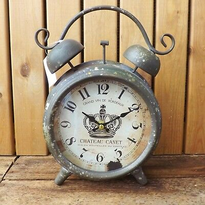 Vintage Style French Brown Metal Glass Front Mantel Clock Chateau Canet Bordeaux