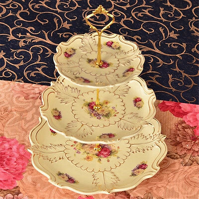5Set 3 Tier Hardware Crown Cake Plate Stand Handle Fitting Wedding Party HE