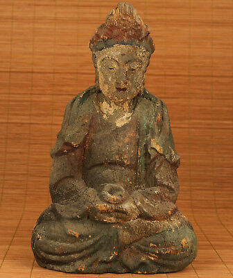 Blessing Rare chinese old Tibetan Boxwood hand carving kwan-yin buddha statue