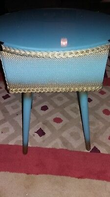vintage lloyd loom style sewing/occasional table blue gold 50s 60s retro kitsch