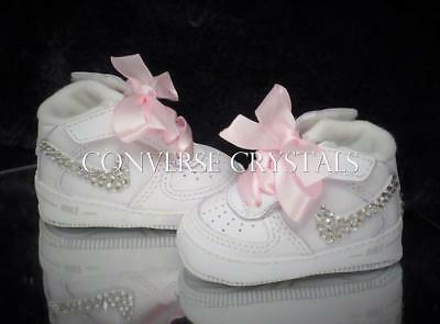 Custom Baby Nike Air Force 1 Crib shoes - Many ribbon / Crystal Options