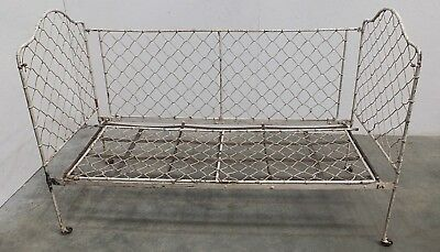 Antique French Painted Iron Folding Child's Cot Day Bed (210)