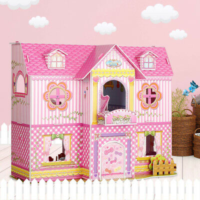 3D Puzzle Kids Doll House With Furniture Staircase Barbie Princess Dollhouse
