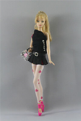 6in1 Set Fashion Top+Skirt+Belt+Bag+Stockings+shose Outfit FOR 11.5in.Doll