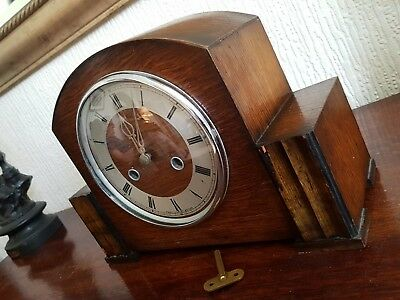 Antique Smiths Enfield Oak Chiming Mantle Clock - With Pendulum & key Working !!